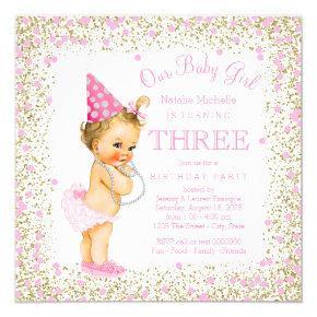 Girls 3rd Birthday Party Pink Gold Glitter Invitation