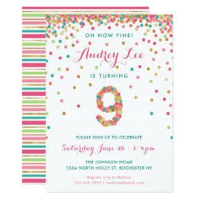 Girls 9th Birthday Invitation Party
