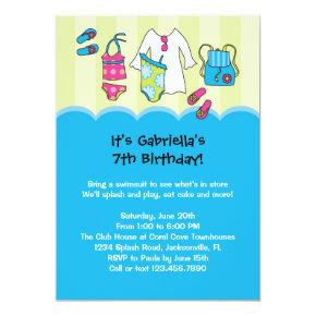 Girls Birthday Pool Party Invitations