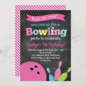 Girl's Bowling Birthday Party - Chalkboard Invitation