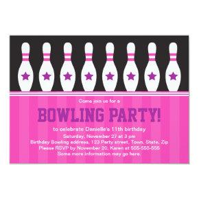 Girls bowling birthday party invitation with pins