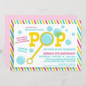 Girl's Bubble Party Birthday Invitation