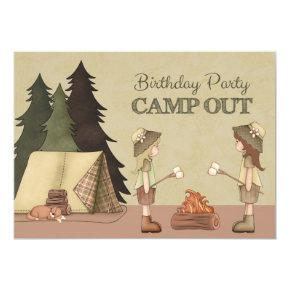 Girls Camp Out Birthday Party Invitation