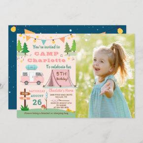 Girls Camping Birthday Camp Out Party Photo Invitation