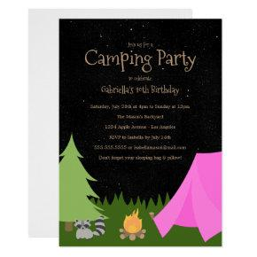 Girls Camping Party | Birthday Party Invitations