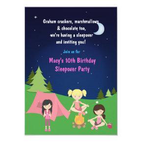 Girls Camping Sleepover Birthday Party Invitations