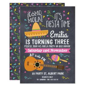 Girls Chalkboard Fiesta Birthday Invitation