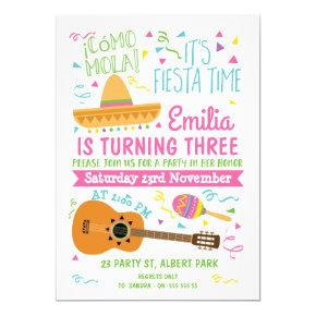 Girls  Colorful Fiesta Birthday Invitation