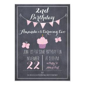 Girls Cupcake Chalkboard Birthday Party Invitation