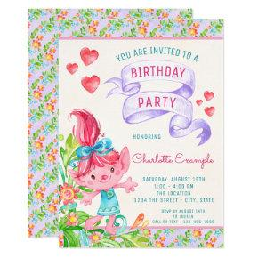 Girls Cute Troll Birthday Party Invitations