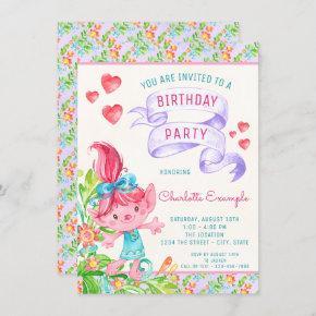 Girls Cute Troll Birthday Party