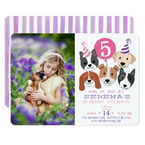 Girl's Dogs and Pink Balloon Photo Birthday Invite