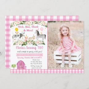Girls Farm Animal Pink Floral Birthday Invitation
