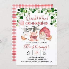 Girls Farm Animals And Balloon Birthday Invitation