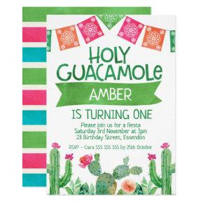 Girls Fiesta Holy Guacamole Birthday Invitation