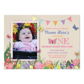 Girl's First Butterfly Garden One Birthday Invite