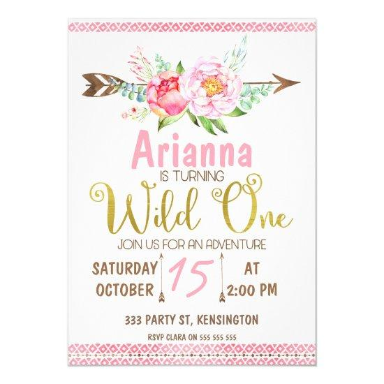 girls floral arrow wild one birthday invitations candied clouds