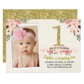 Girls Floral Faux Gold 1st Birthday Invitations