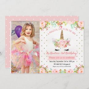 Girls Floral Unicorn Birthday Invitation
