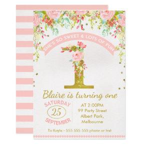 Girls Floral Watercolor 1st Birthday Invitation