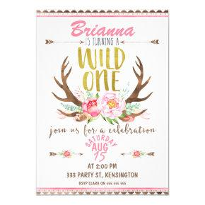 Girls Floral Wild One Birthday Invitations