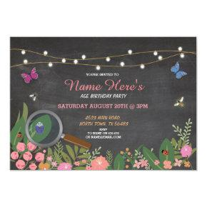 Girl's Garden Bug Hunt Butterfly Birthday Invite