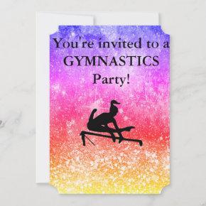 Girls Gymnastics Birthday Party Custom Invitation
