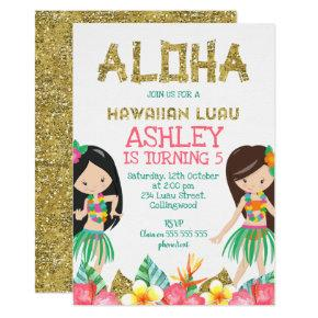 Girls Hawaiian Luau Birthday Invitations