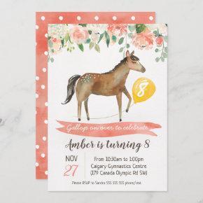 Girls Horse Birthday Party Invitation