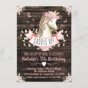 Girls Horse Rustic Wood Pink Floral Birthday Party Invitation