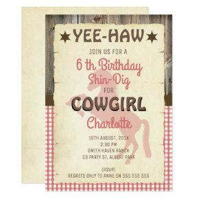 Girls Horse Wild West Birthday Party Invitation