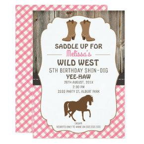 Girls Horse Wild West Birthday Party Invitations