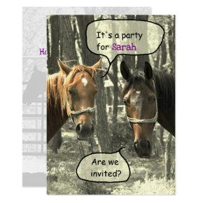 Girls Horseback-riding Party Birthday Invitation