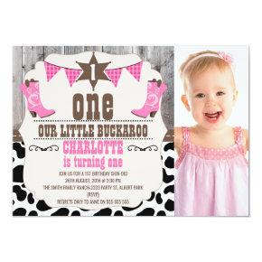 Girls Hot Pink Wild West 1st Birthday Invitation