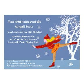 Girl's Ice Skating Party Invitations