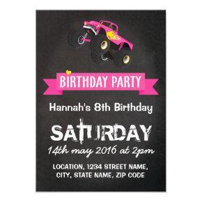 Girls Kids Racing Monster Truck Cars Birthday Card