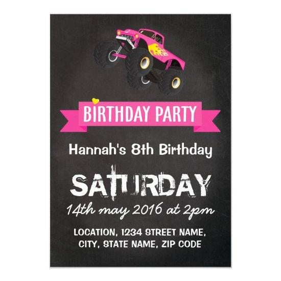 Girls kids racing monster truck cars birthday invitations candied girls kids racing monster truck cars birthday invitations filmwisefo