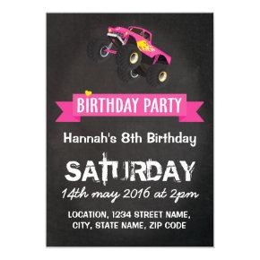 Girls Kids Racing Monster Truck Cars Birthday Invitation