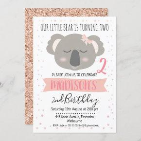 Girls Koala Bear Birthday Invitation