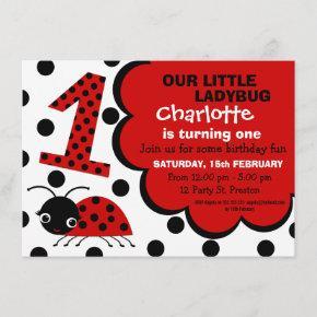 Girls Ladybug 1st Birthday Party Invitation