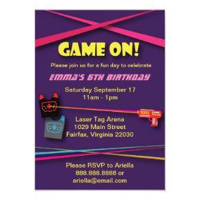 Girl's Laser Tag Birthday Party Invitation