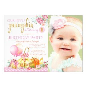 Girls Little Pumpkin Photo First Birthday Invitations