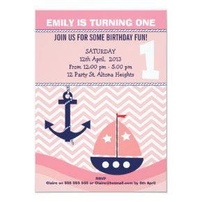 Girls Nautical 1st Birthday Invitation