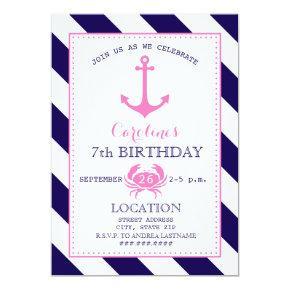 Girl's Nautical Birthday Party - Anchor   Crab Card