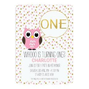 Girls Owl Faux Gold Text 1st Birthday Invitations