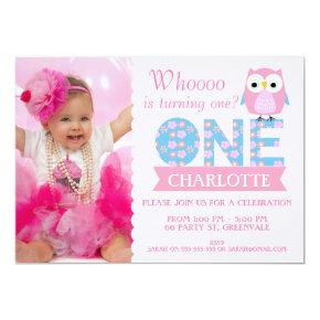 Girls Owl Photo 1st Birthday Party Invitations