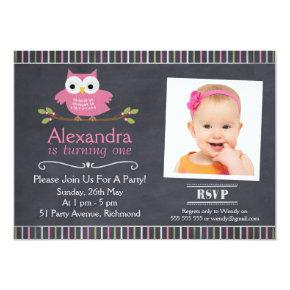 Girls Owl Photo Chalkboard Birthday Invitations