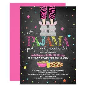 Girl's Pajama Party Birthday Invitations