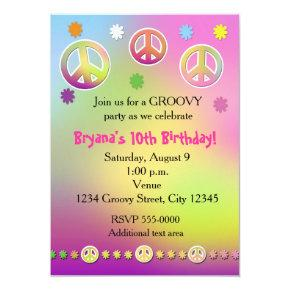 girls pastel tie dye groovy birthday party invitation