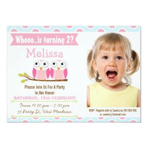 Girls Photo Pink Owls 2nd Birthday Invitations